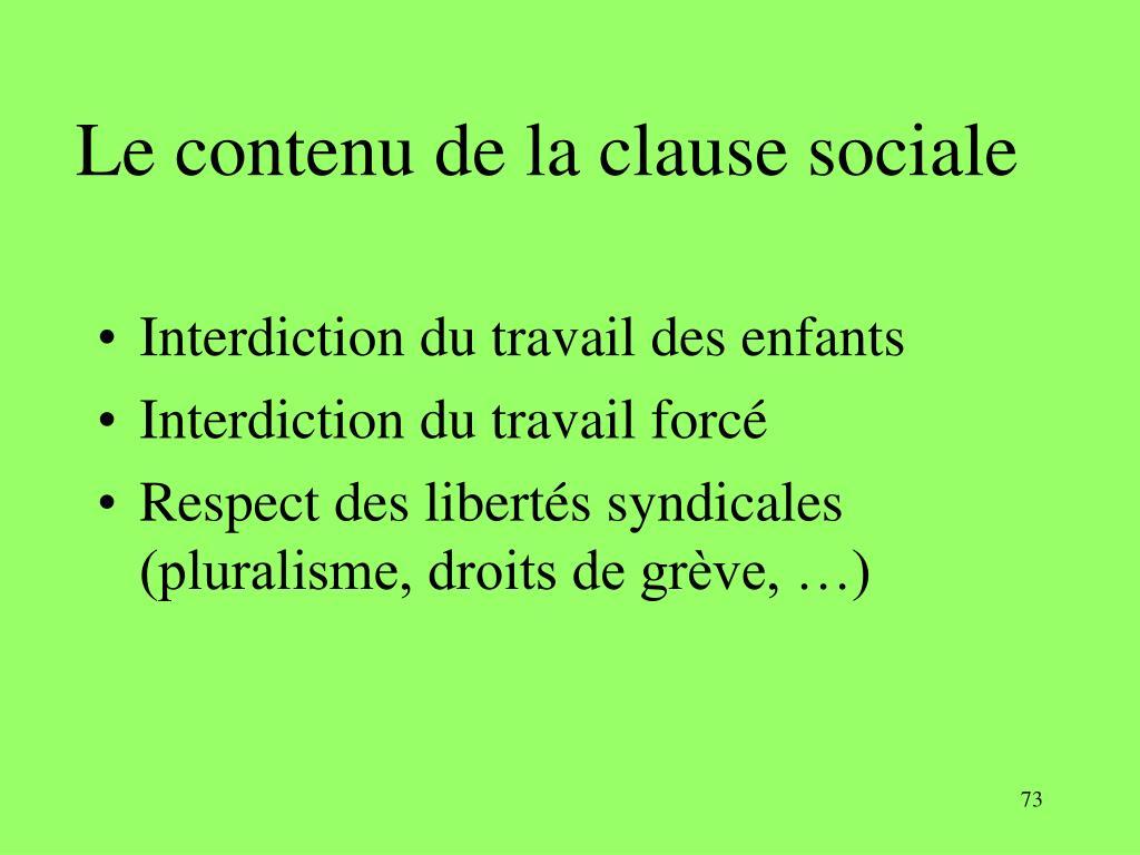 Le contenu de la clause sociale