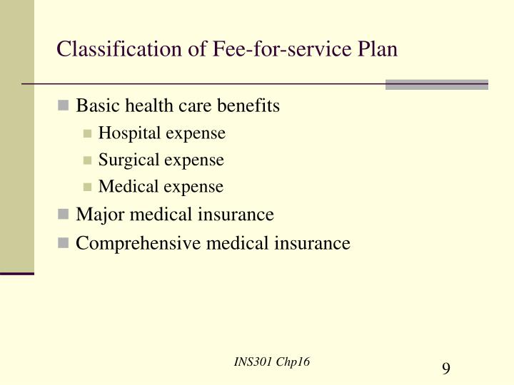 Classification of Fee-for-service Plan