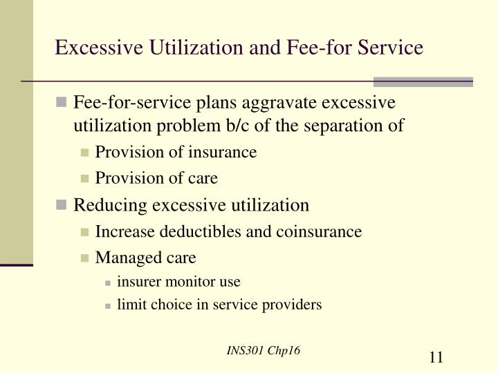 Excessive Utilization and Fee-for Service