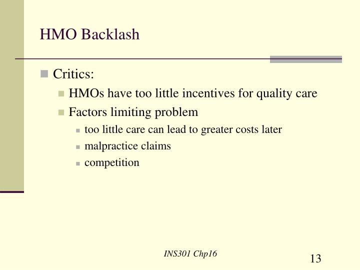 HMO Backlash
