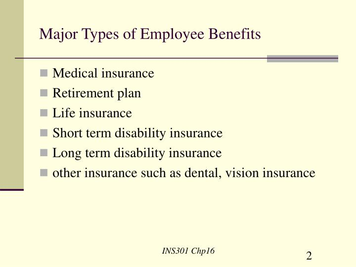 Major types of employee benefits