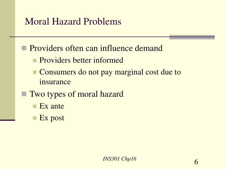 Moral Hazard Problems
