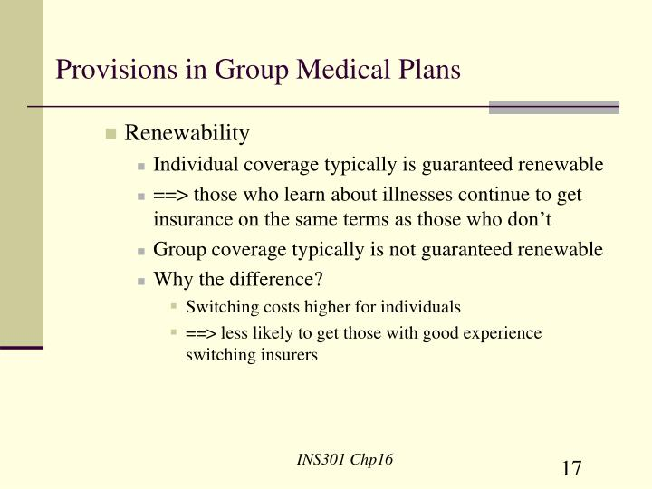 Provisions in Group Medical Plans