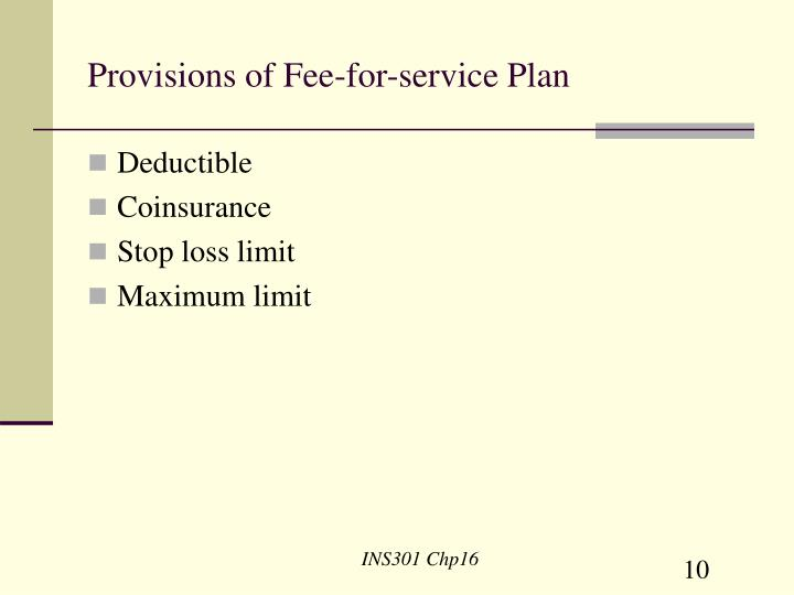 Provisions of Fee-for-service Plan