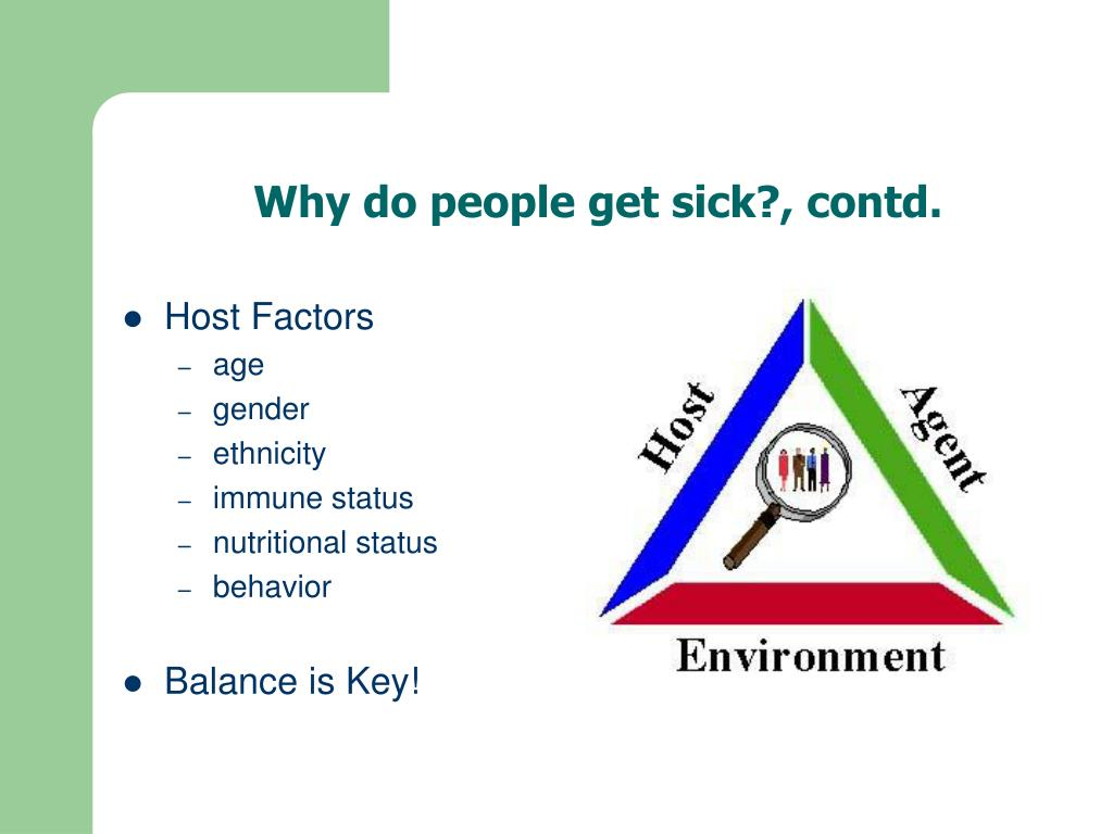 Why do people get sick?, contd.
