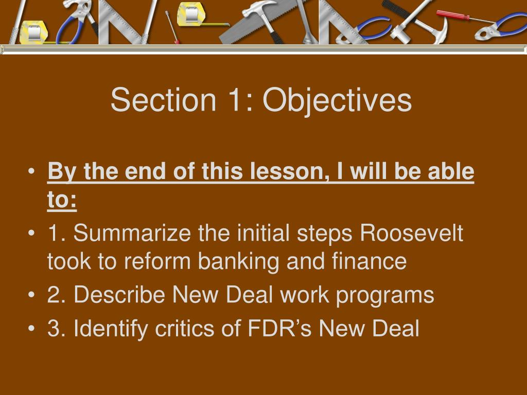 Section 1: Objectives