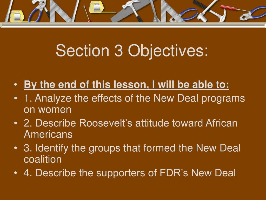 Section 3 Objectives: