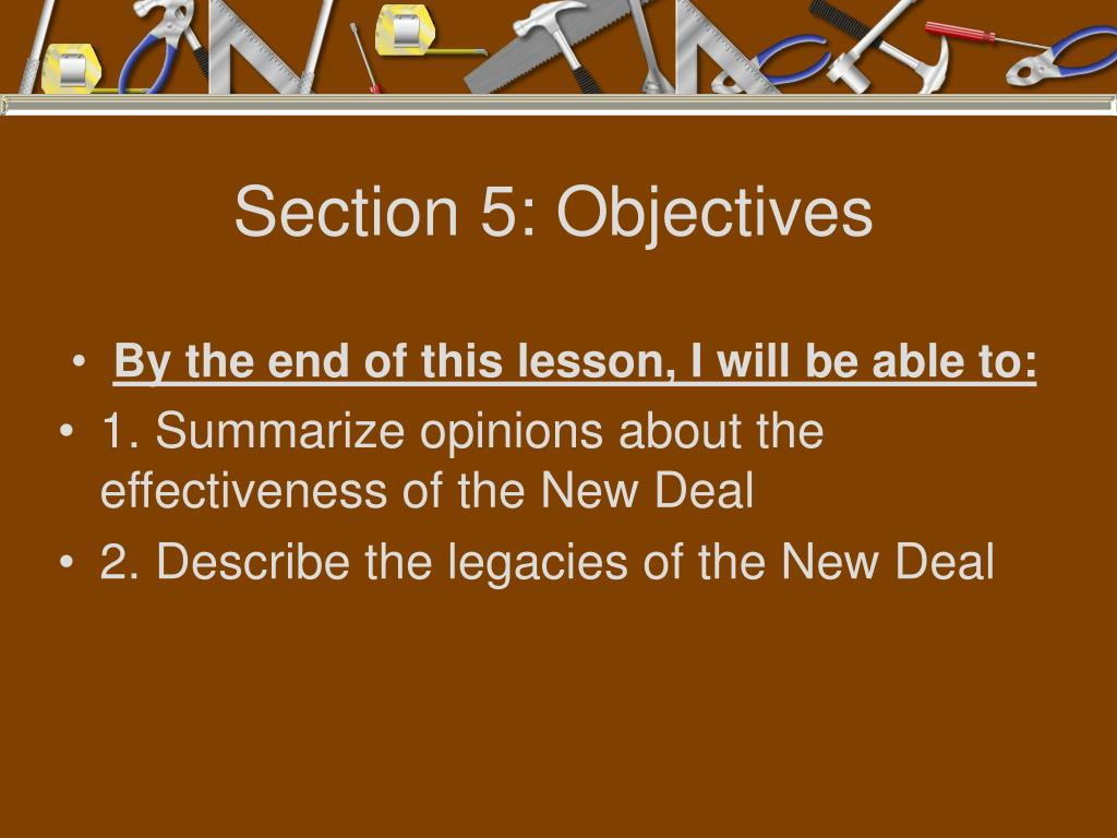 Section 5: Objectives