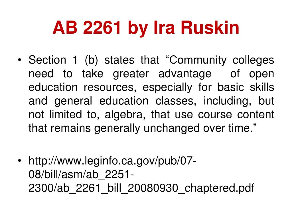 AB 2261 by Ira Ruskin