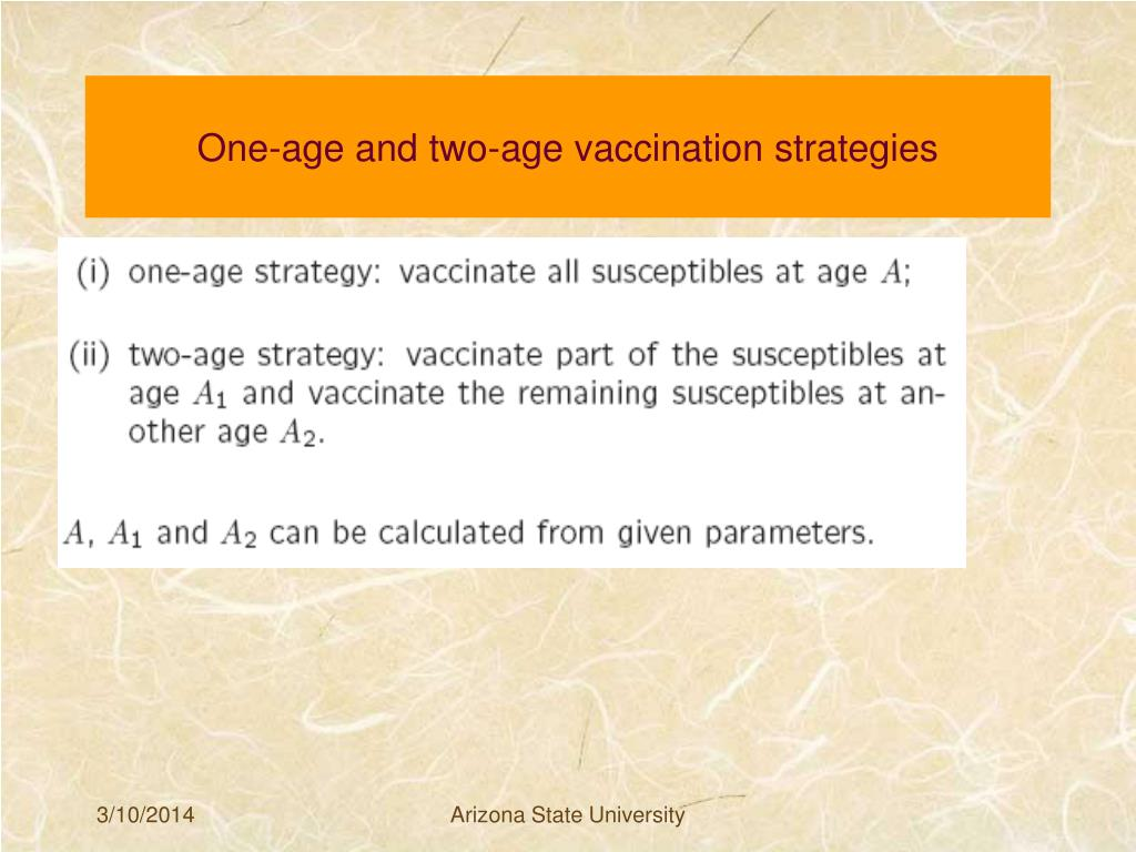 One-age and two-age vaccination strategies