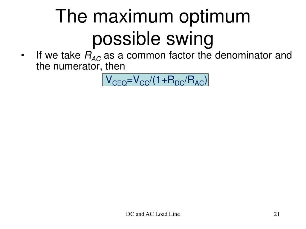The maximum optimum possible swing