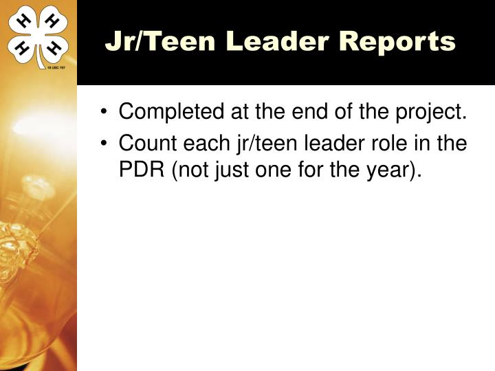 Jr/Teen Leader Reports