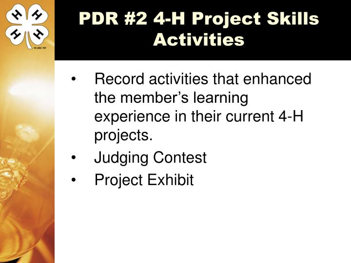 PDR #2 4-H Project Skills Activities