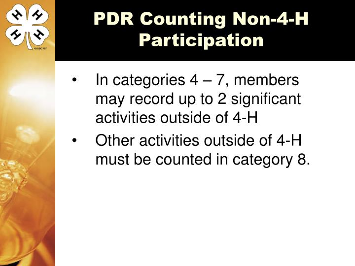 PDR Counting Non-4-H Participation