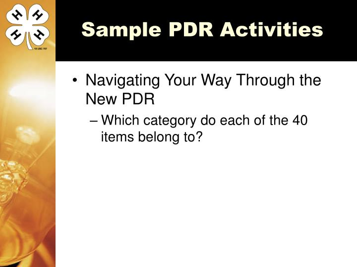 Sample PDR Activities