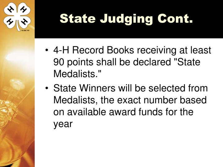 State Judging Cont.