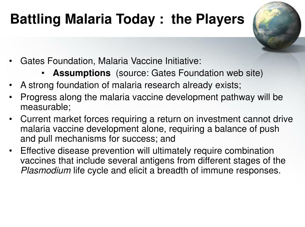 Battling Malaria Today :  the Players