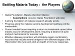 battling malaria today the players