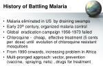 history of battling malaria