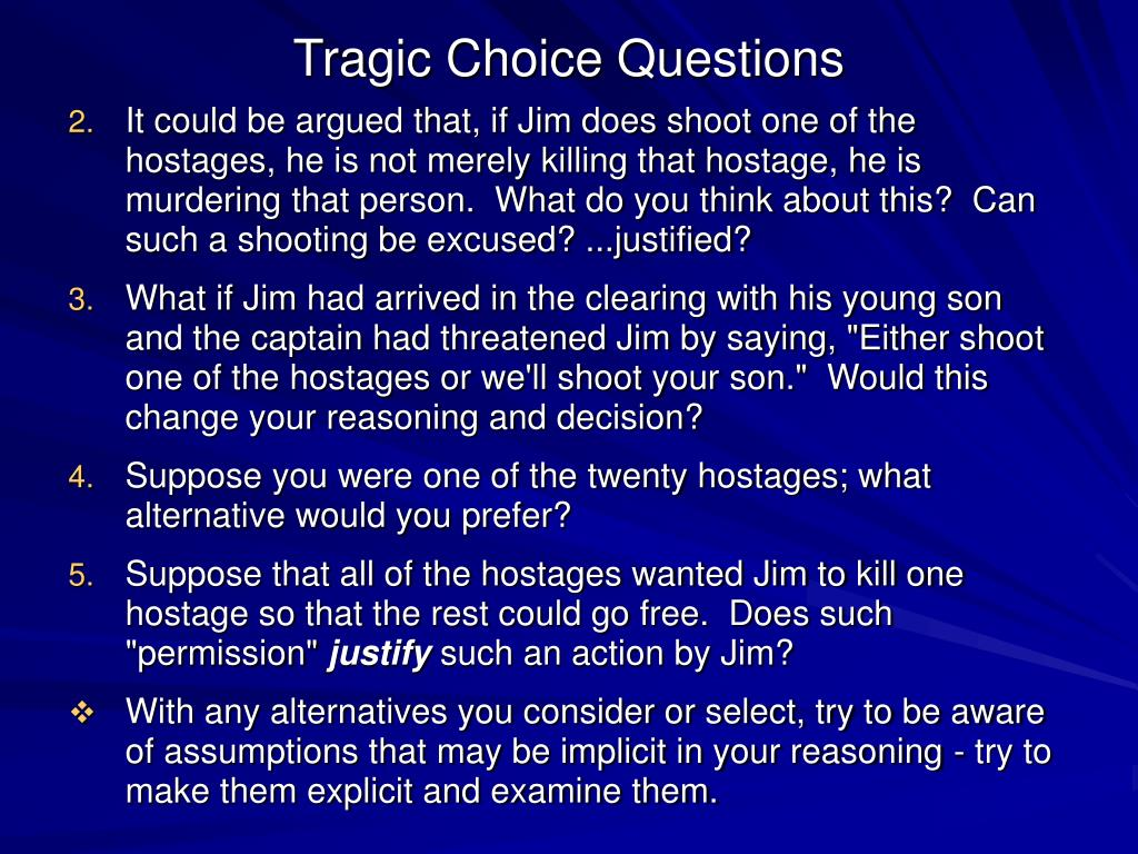 Tragic Choice Questions