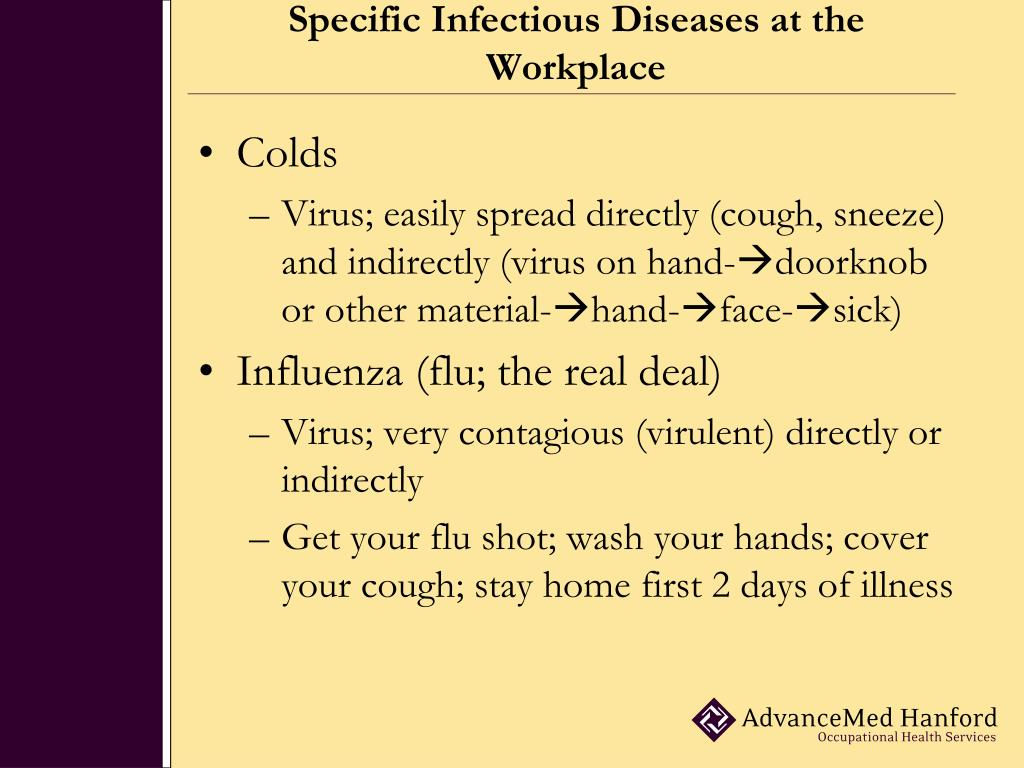 Specific Infectious Diseases at the Workplace