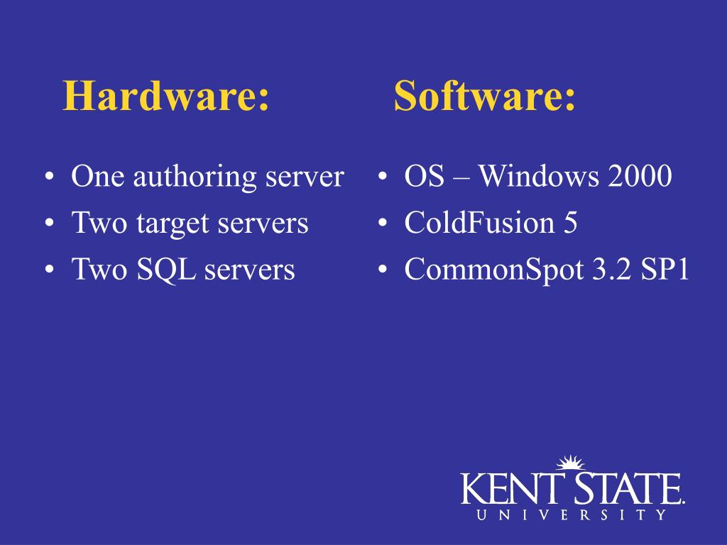 Hardware:           Software:
