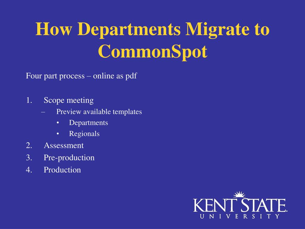 How Departments Migrate to CommonSpot