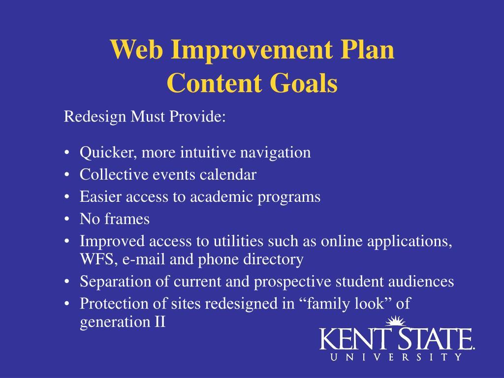 Web Improvement Plan