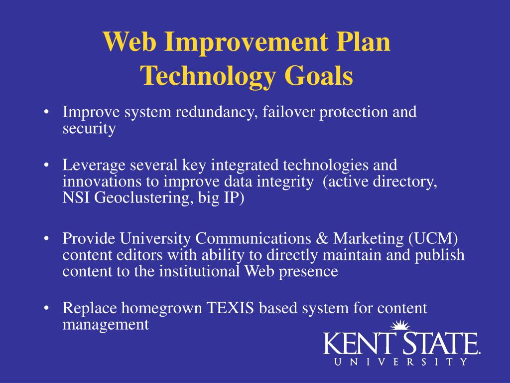 Web Improvement Plan  Technology Goals