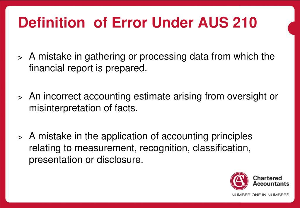 Definition  of Error Under AUS 210