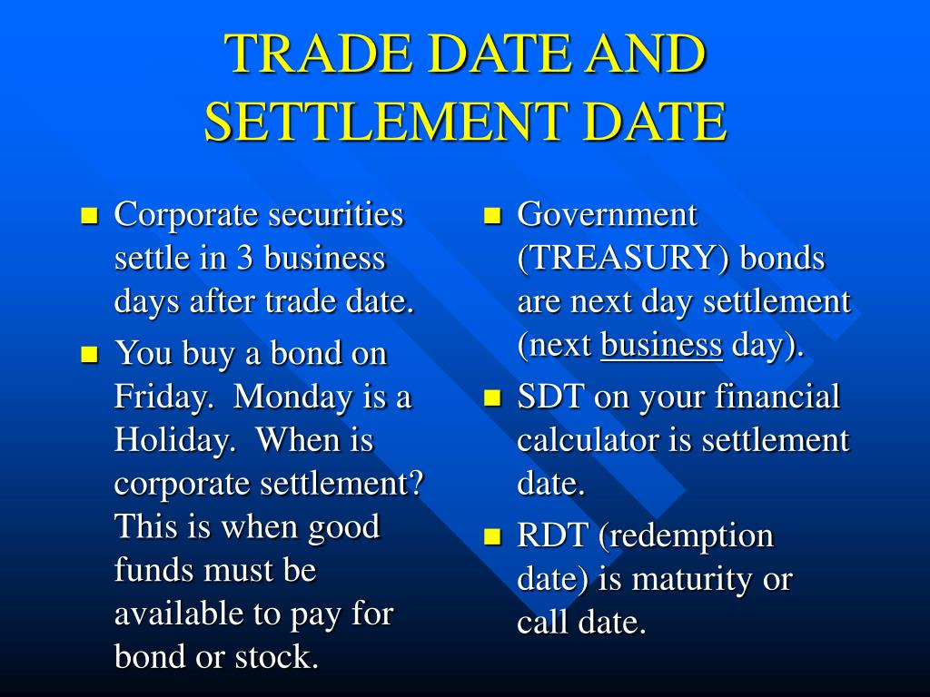 Corporate securities settle in 3 business days after trade date.