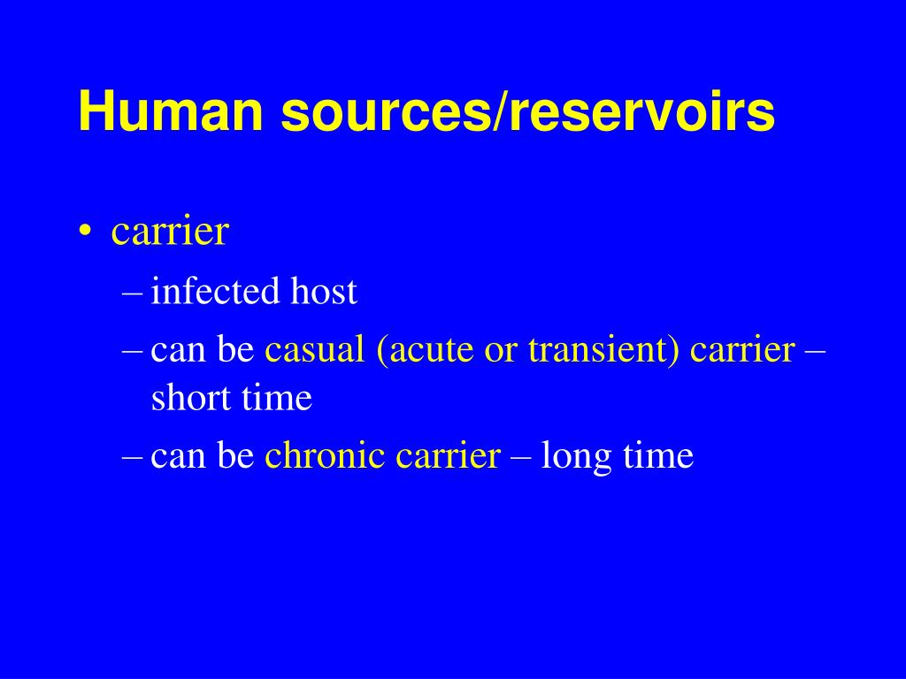 Human sources/reservoirs