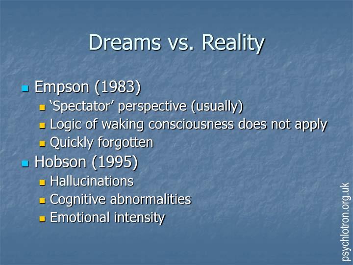 A Brief Comparison of Dreams vs Reality