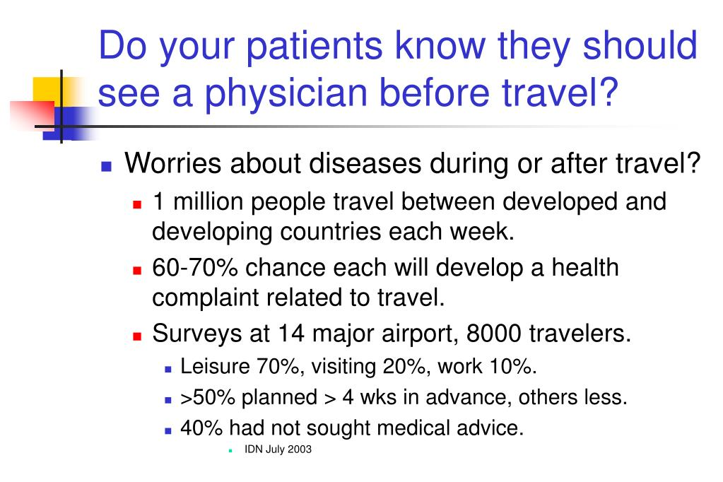 Do your patients know they should see a physician before travel?