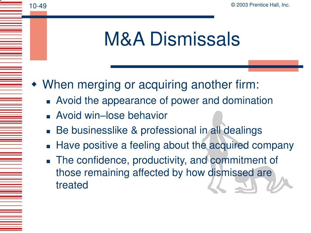 M&A Dismissals