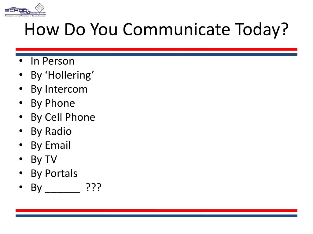 How Do You Communicate Today?
