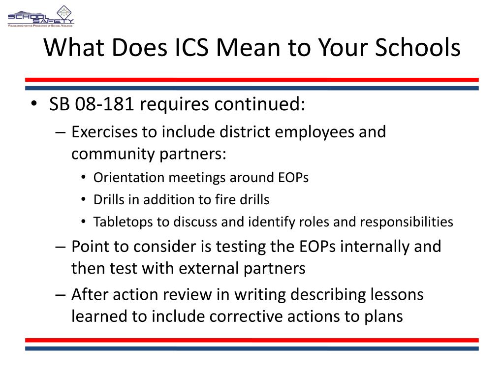 What Does ICS Mean to Your Schools
