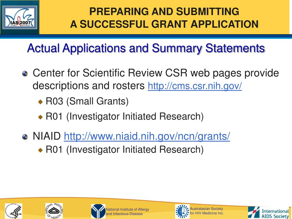 Actual Applications and Summary Statements