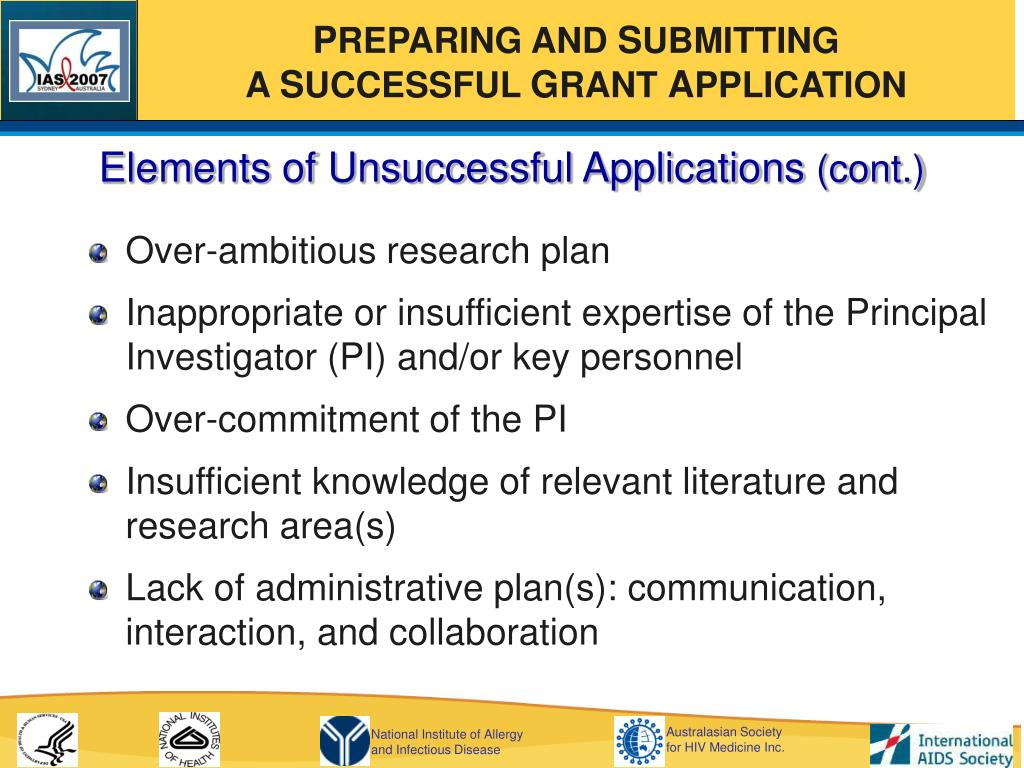 Elements of Unsuccessful Applications