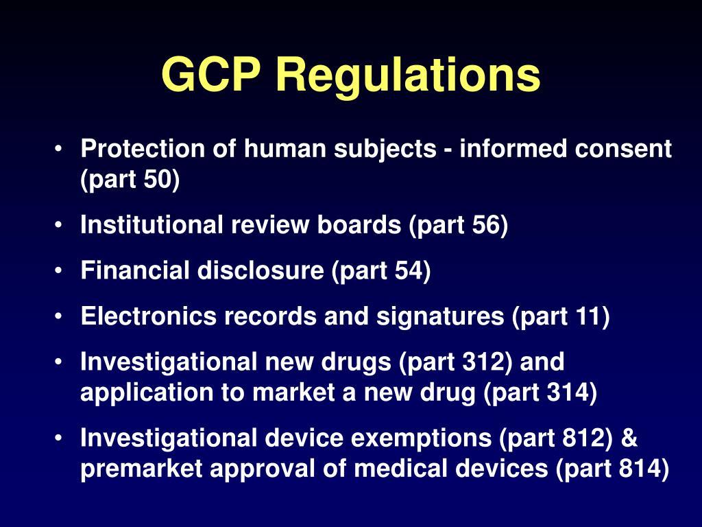 GCP Regulations