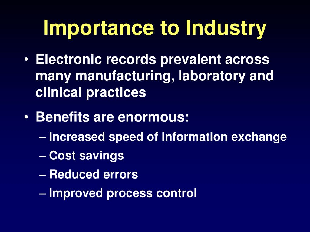 Importance to Industry
