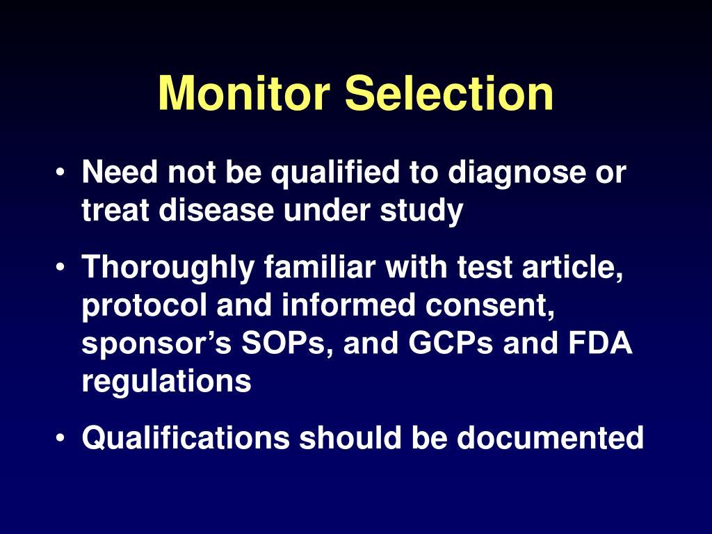 Monitor Selection