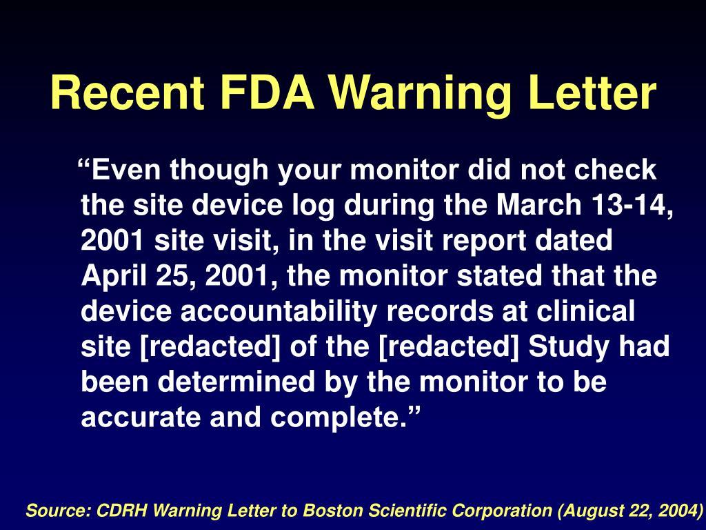 Recent FDA Warning Letter