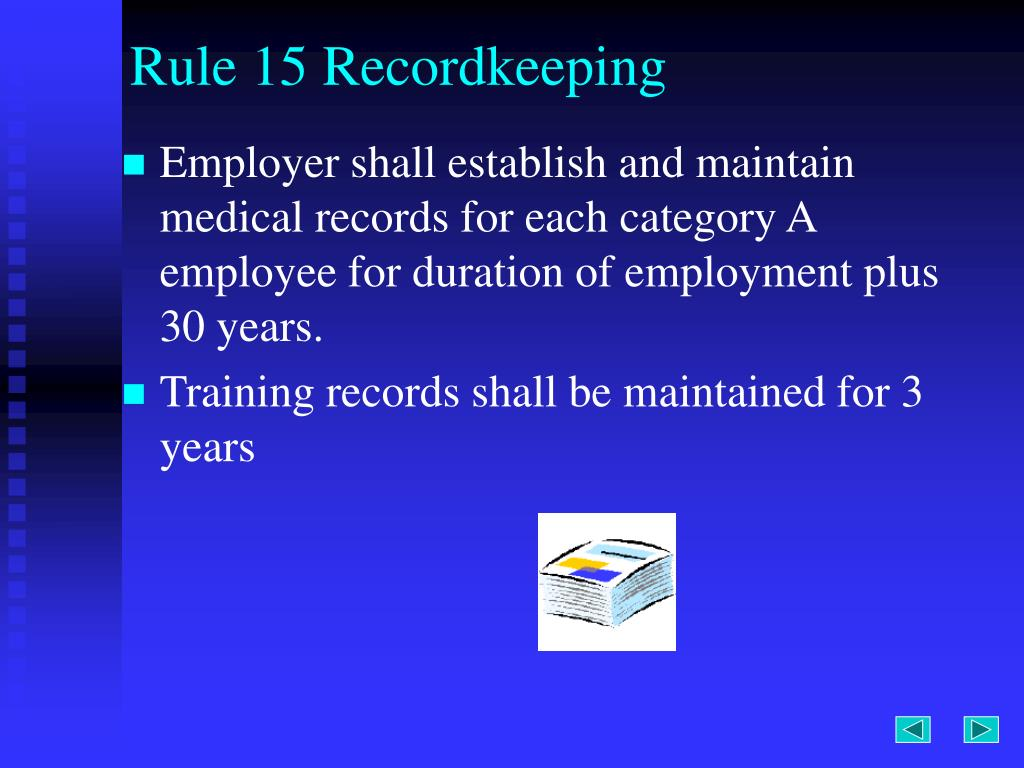 Rule 15 Recordkeeping