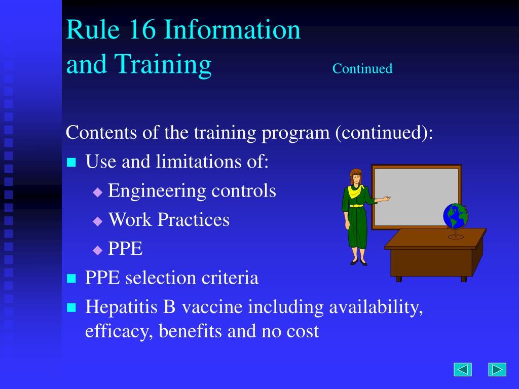 Rule 16 Information