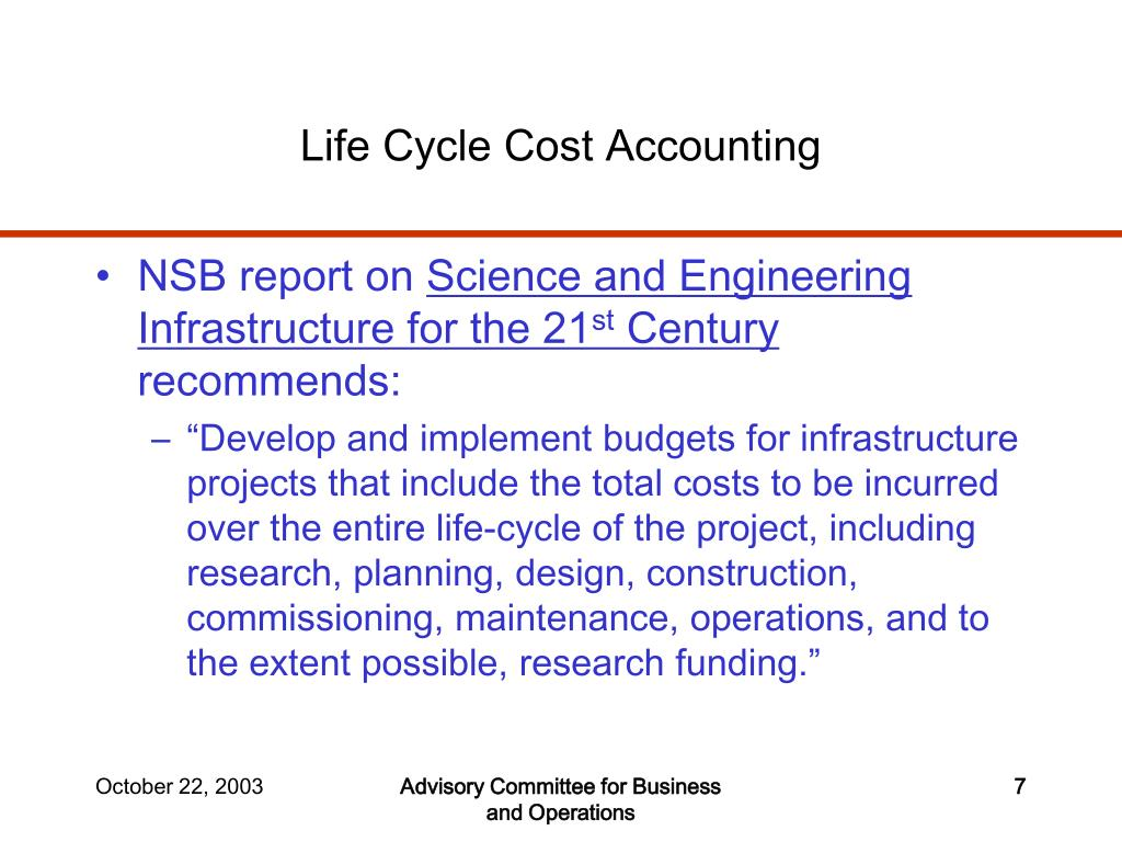Life Cycle Cost Accounting