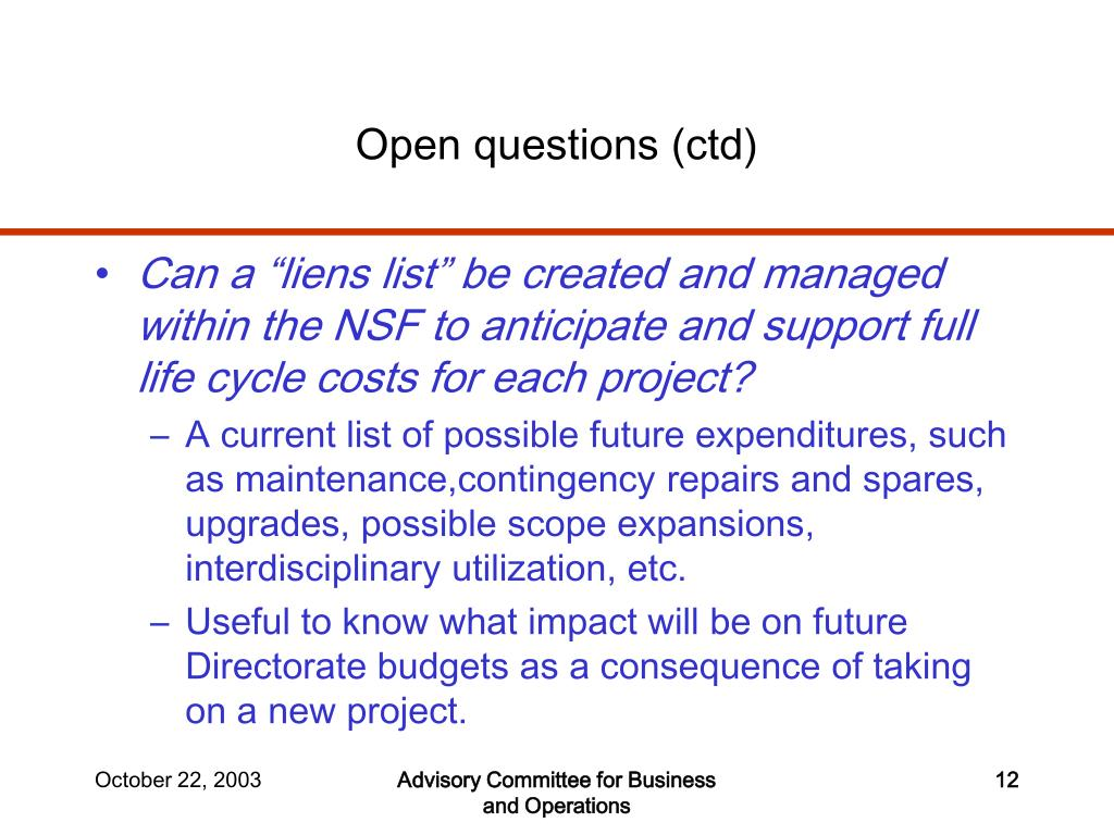 Open questions (ctd)