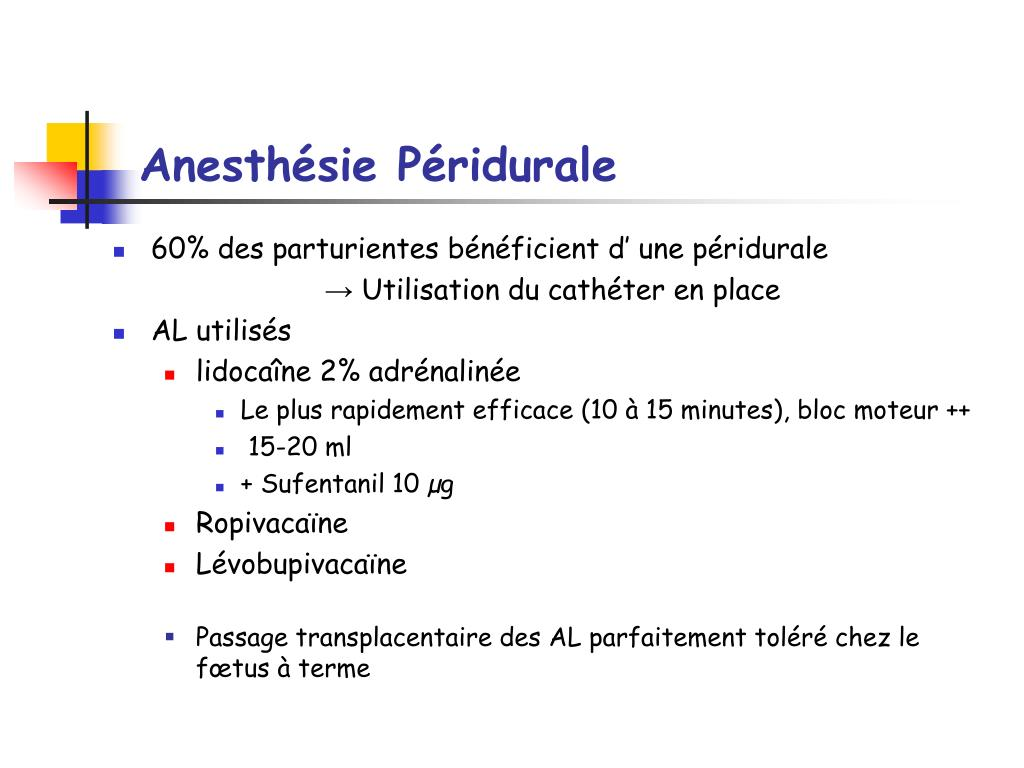 Anesthésie Péridurale