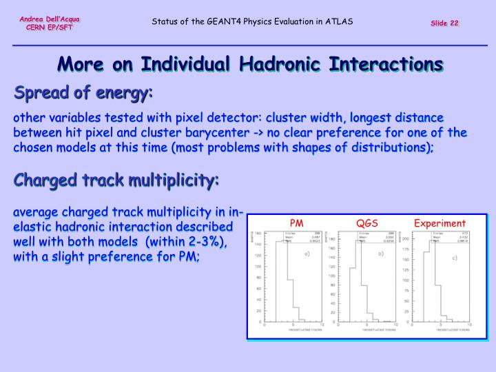 More on Individual Hadronic Interactions