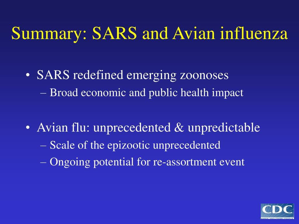Summary: SARS and Avian influenza